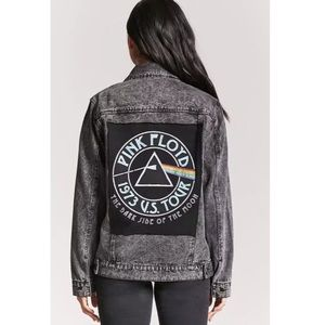 NEW Forever 21 washed denim pink Floyd jean jacket